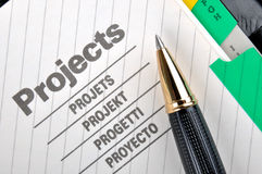 Ball pen and project document. Project book page or document and a ball pen, shown as project woking and other business concept Stock Photos