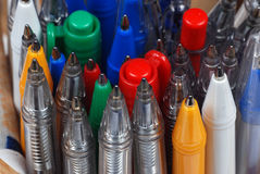 Ball Pens. Image for the different ball pens royalty free stock photo