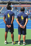 Ball persons on tennis court at the Billie Jean King National Tennis Center Stock Images