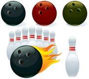 Ball and pin bowling. Set of balls and pins bowling Stock Images