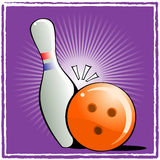 Ball and pin bowling. Orange Ball and pin bowling on purple background Royalty Free Stock Photography