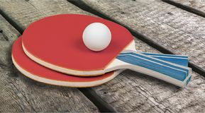 Professional ping pong rockets and ball. Ball ping pong rockets game sport leisure Stock Images