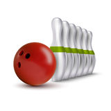 Ball and pins of bowling. Vector realistic skittles with ball is Stock Photography