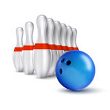 Ball and pins of bowling. Vector realistic skittles with ball is Stock Photos