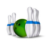 Ball and pins of bowling. Vector realistic skittles with ball is Stock Images