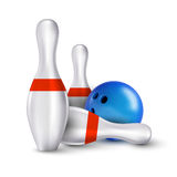 Ball and pins of bowling. Vector realistic skittles with ball is Royalty Free Stock Photo