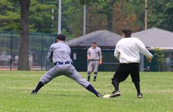 Ball play at first base Royalty Free Stock Images