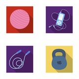 Ball, player and other equipment for training.Gym and workout set collection icons in flat style vector symbol stock Royalty Free Stock Photography