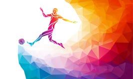 ball player soccer 足球运动员踢在时髦抽象五颜六色的多角形样式的球与彩虹 库存例证