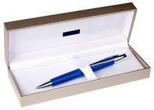 Ball-point pen in box isolated on white. Blue with silver ball-point pen in decorative box isolated on white stock images