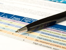 Ball point pen with document sheet Royalty Free Stock Photography