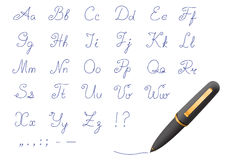 Ball-point pen font. Font written by a black pen on a white background Royalty Free Stock Images