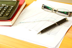 Ball point pen with graph sheet Royalty Free Stock Image
