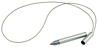 Ball-point pen with wire rope isolated Stock Images