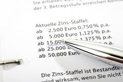 Ball-point pointing at interest scale Royalty Free Stock Image