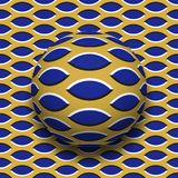 Ball with a pointed ellipses pattern rolling along the pointed ellipses surface. Abstract vector optical illusion. Illustration. Motley background and tile of Royalty Free Stock Image