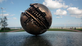 Ball of pomodoro in pesaro, italy. Artistic builings in pesaro, Italy, this is the ball of architect pomodoro Royalty Free Stock Image