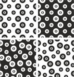 8 Ball Pool Big & Small Aligned & Random Seamless Pattern Set Royalty Free Stock Images
