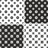 8 Ball Pool Big & Small Seamless Pattern Set Stock Photo