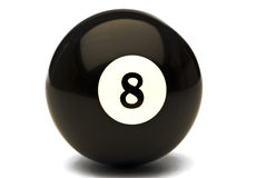 The 8 Ball. An 8 ball from a pool table set on a white background Stock Photo