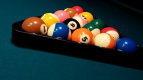 8 ball pool - triangle. Focus on white ball - playing pool Royalty Free Stock Image