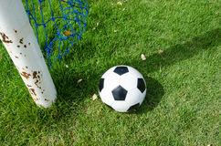 Ball and post of goal Stock Photography