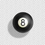 Ball-realistische Vektor-Illustration des Billard-acht Grüner Billardtisch-Stoff mit schwarzem Bereich und weichen Schatten Auszu Stockbild