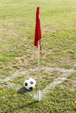 Ball and Red flag in corner of soccer field. In sunny day Stock Photos