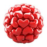 Ball from red hearts. Isolated on white Royalty Free Stock Photography