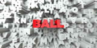 BALL -  Red text on typography background - 3D rendered royalty free stock image Stock Photo