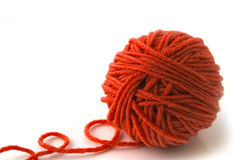 Ball of red threads Stock Photo