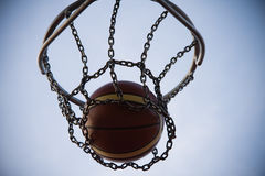Ball right in basket Royalty Free Stock Photos