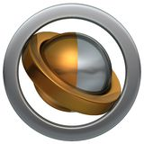 Ball of the Rings 1. Metal ball and two metal rings easy to isolate vector illustration