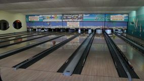 Ball rolling in bowling stock video footage