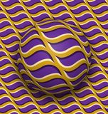 Ball rolls along surface. Abstract vector optical illusion illustration. Purple waves on golden pattern motion background. Tile of seamless wallpaper Royalty Free Stock Photos