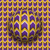 Ball rolls along surface. Abstract vector optical illusion illustration.. Purple arrows on golden pattern motion background. Tile of seamless wallpaper Royalty Free Stock Photography
