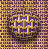 Ball rolls along surface. Abstract vector optical illusion illustration. Purple bows on golden pattern motion background. Tile of seamless wallpaper Royalty Free Stock Photos