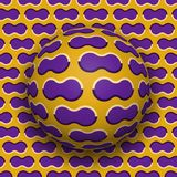 Ball rolls along surface. Abstract vector optical illusion illustration. Purple clouds on golden pattern motion background. Tile of seamless wallpaper Royalty Free Stock Photos
