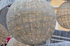 Ball's christmas Tree closeup in urban street Royalty Free Stock Photo