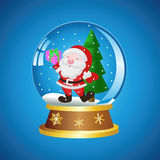 Ball with Santa. Christmas ball with Santa on a blue background Royalty Free Stock Photography