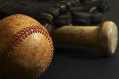Ball scene. Baseball macro scene on black Royalty Free Stock Photography