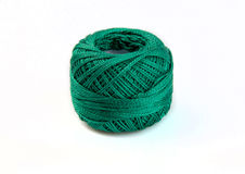 Ball of sea  green yarn isolated on white background Stock Photos