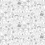 Ball Seamless Pattern. Ball doodle seamless pattern with celebration objects and elements on white background. Coloring page Stock Image