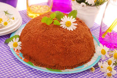 Ball shape cake with chocolate crumble topping Royalty Free Stock Photo