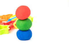 Ball shape of play dough on white background. Colorful play dough Stock Photos
