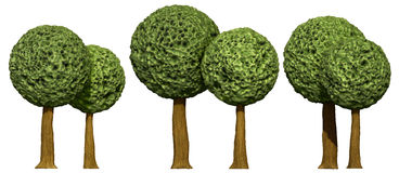 Ball shaped trees, 3d based Stock Photography
