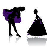 Ball. Silhouette of young royal romantic couple, preparing to dance on ball Stock Photography