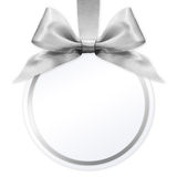 Ball with silver satin ribbon bow on white background Stock Photo