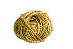 Ball of sisal cord. On white background royalty free stock photos