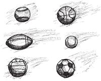 Ball sketch set with shadow and dynamic effect isolated on white background.  Royalty Free Stock Photography